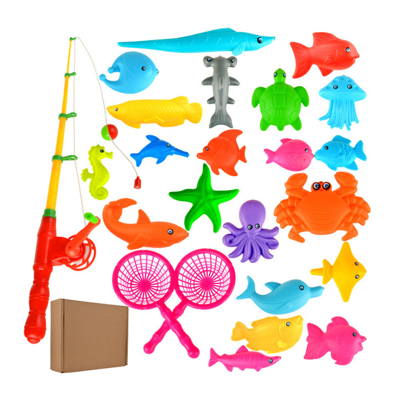 1set Magnetic Fishing Toy Plastic 21 Fishes With Rod Model Educational Toys For Kids S25(China (Mainland))