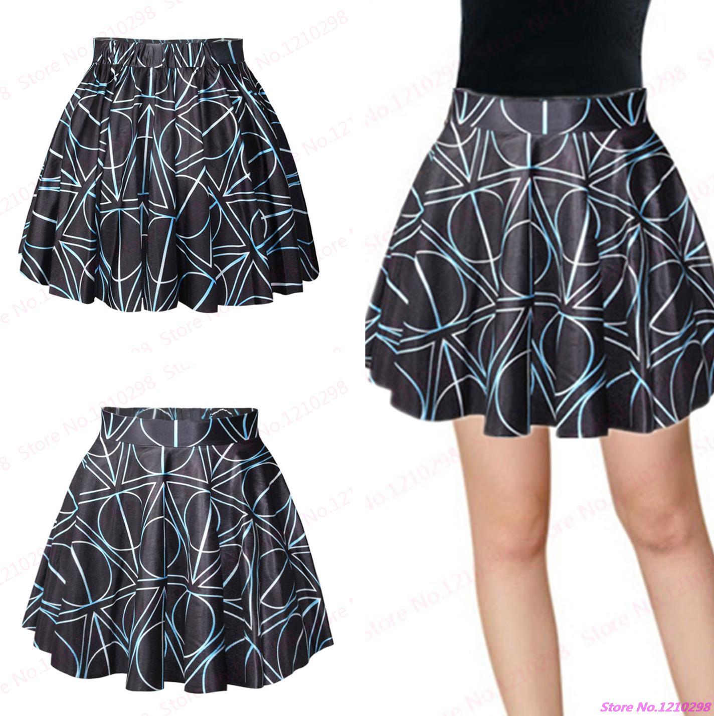 New Women Geometric Skirt High Waist Miniskirt 3D Printed Pettiskirt Black Tennis Short Skirts Nightclubs Sport