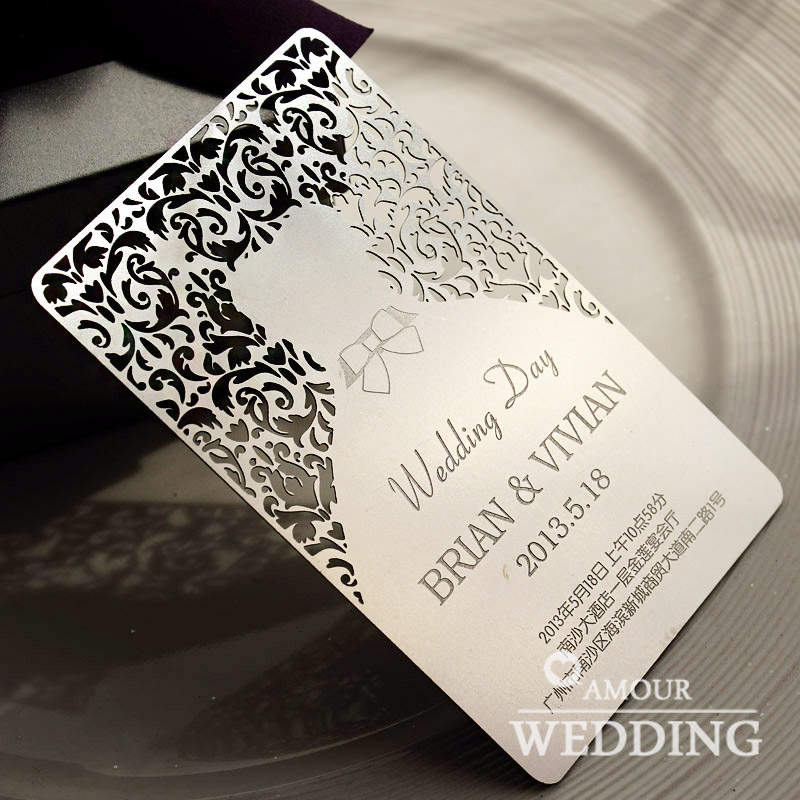 customize wedding Invitation card metal GIFT diy personalized invitation Wedding Decoration Gift festive Event & Party Supplies(China (Mainland))