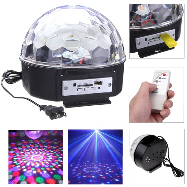Big Promotion RGB LED MP3 Crystal Magic Ball Stage Effect Light DJ Club Disco Party Lighting Music With USB Disk Remote Control(China (Mainland))