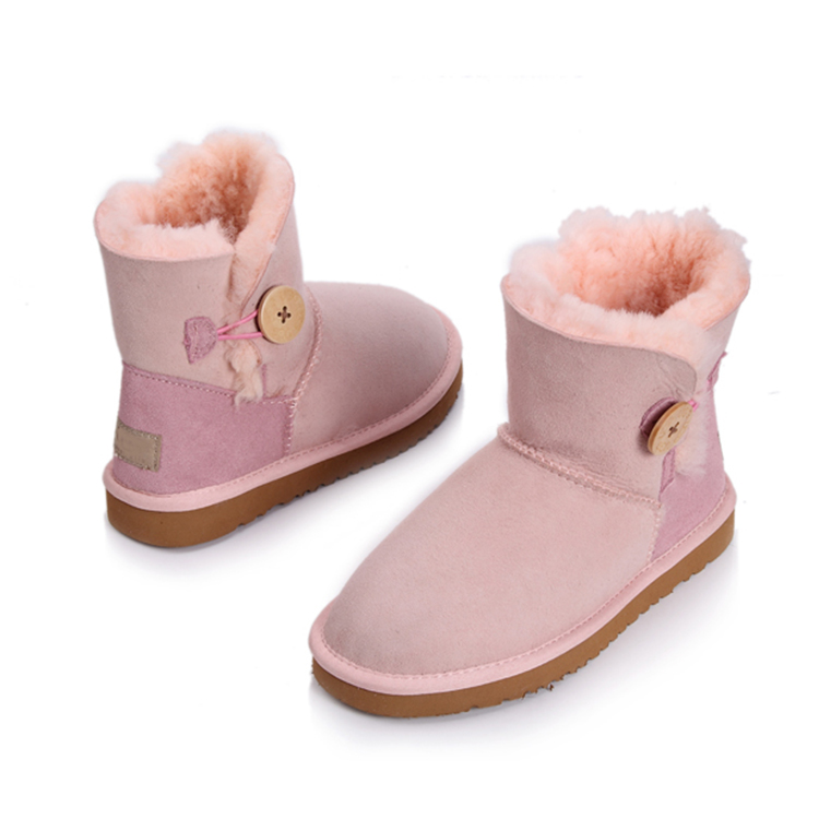 Pink Flat Ankle Boots Snow Boots Women Pink Flat