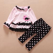 2016 Do Bebê Roupas de Menina Set T-shirt Doce Dress & Calças 2 PCS Polka Dot Terno Crianças Meninas Primavera Outono Princesa roupas