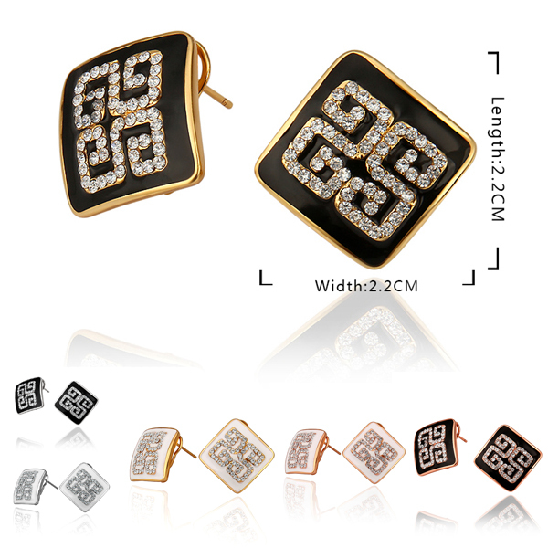 Chinese style lucky printed word jewelry, fashion lady office workers's favorite Stud Earrings accessories(China (Mainland))
