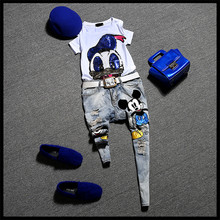 2016 Women 2 piece Set Animal Sequined Cotton T-shirt+Hole Ripped Cartoon Denim Jeans Twinset Women Pants Suits Jeans Pants NS54