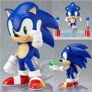 """Free Shipping Cute 4"""" Funny Blue Sonic the Hedgehog Vivid Nendoroid Series Boxed PVC Action Figure Model Collection Toy #214(China (Mainland))"""