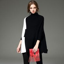 2015 Winter Style New Fashion Women Clothing Sweet Casual Bottoming Tops Hit Color Classic Collar Loose Big Yards Sweater Female(China (Mainland))