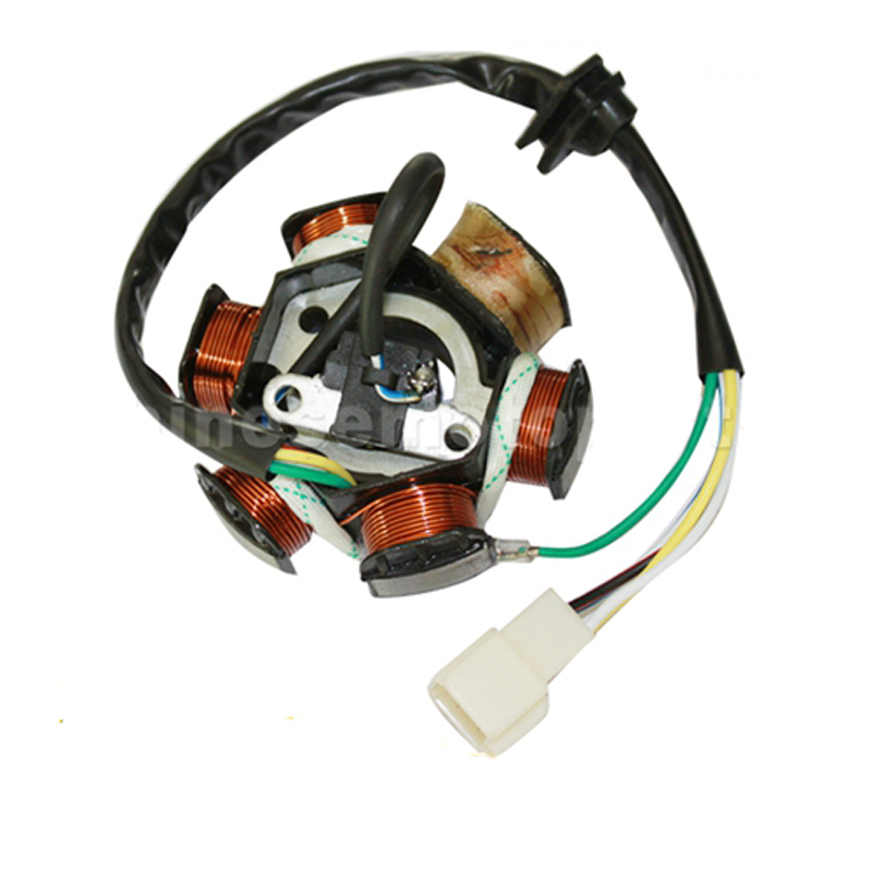 GOOFIT 6 Poles 5 Wires Half-Wave Ignition Magneto Stator for GY6 50cc 70cc 90cc 110cc 125cc ATV Quad Pocket Bike k079-004(China (Mainland))