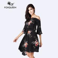 Foxqueen2017 новое лето принесли нерегулярные печати dress sexy моды в европе и америке слово(China (Mainland))