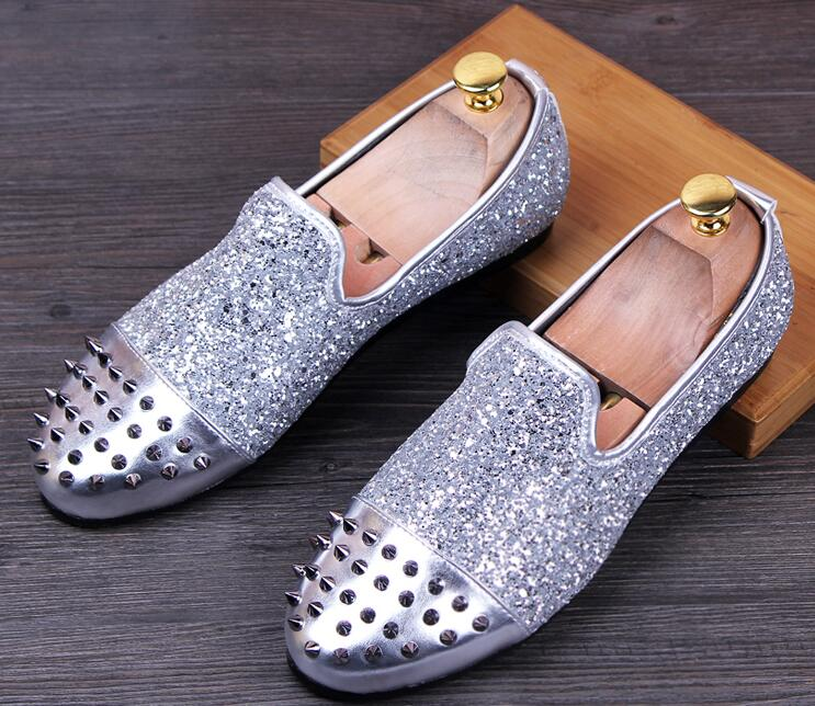 New Men Brand Designer Shoes trendsetter Glittering tudded Rivet Spike Loafer shoe For Men Shoes Part dress wedding shoes cc582(China (Mainland))