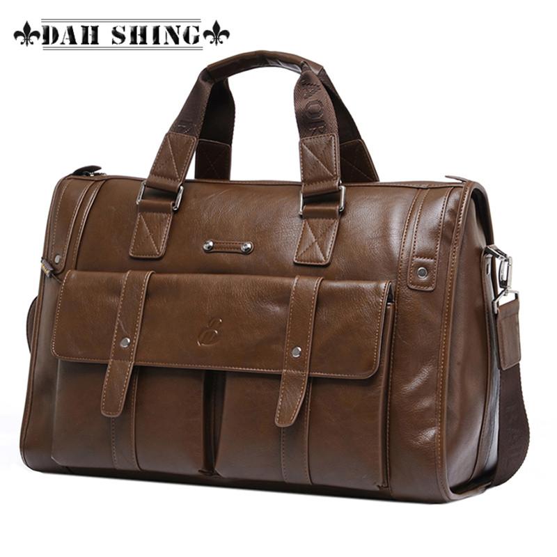 3 colors Large capacity Microfiber complex Leather Men's Travel bags briefcase messenger bag 2 sizes - Dah Shing Fashion Co., Ltd. store