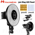 FALCON EYES Brand 300 Ring LED Panel 5600K Lighting Video Film Continuous Light W Camera Bracket