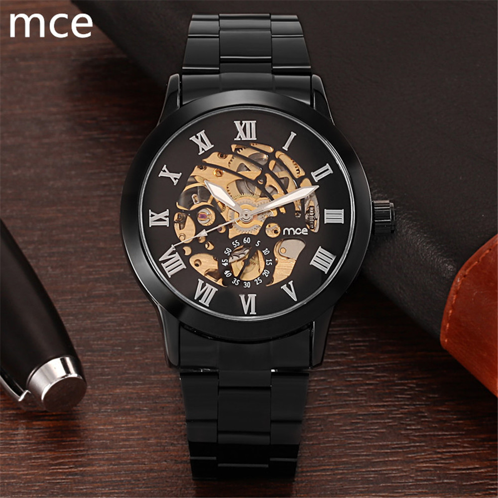 wind up watch promotion shop for promotional wind up watch on mce brand fashion casual mechanical watches men full stainless steel skeleton automatic mechanical watch relojes hombre 2016