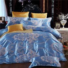 2019 home bedding set Jacquard duvet cover set dark golden 4pcs/set bed linen luxurious bedclothes queen king size adult bed set(China)