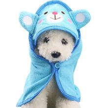 S/M/L suave mascota perro gato dibujos animados Animal Albornoz baño toalla cachorro ducha lavado suministros perro mantas productos para perros pequeños y medianos(China)