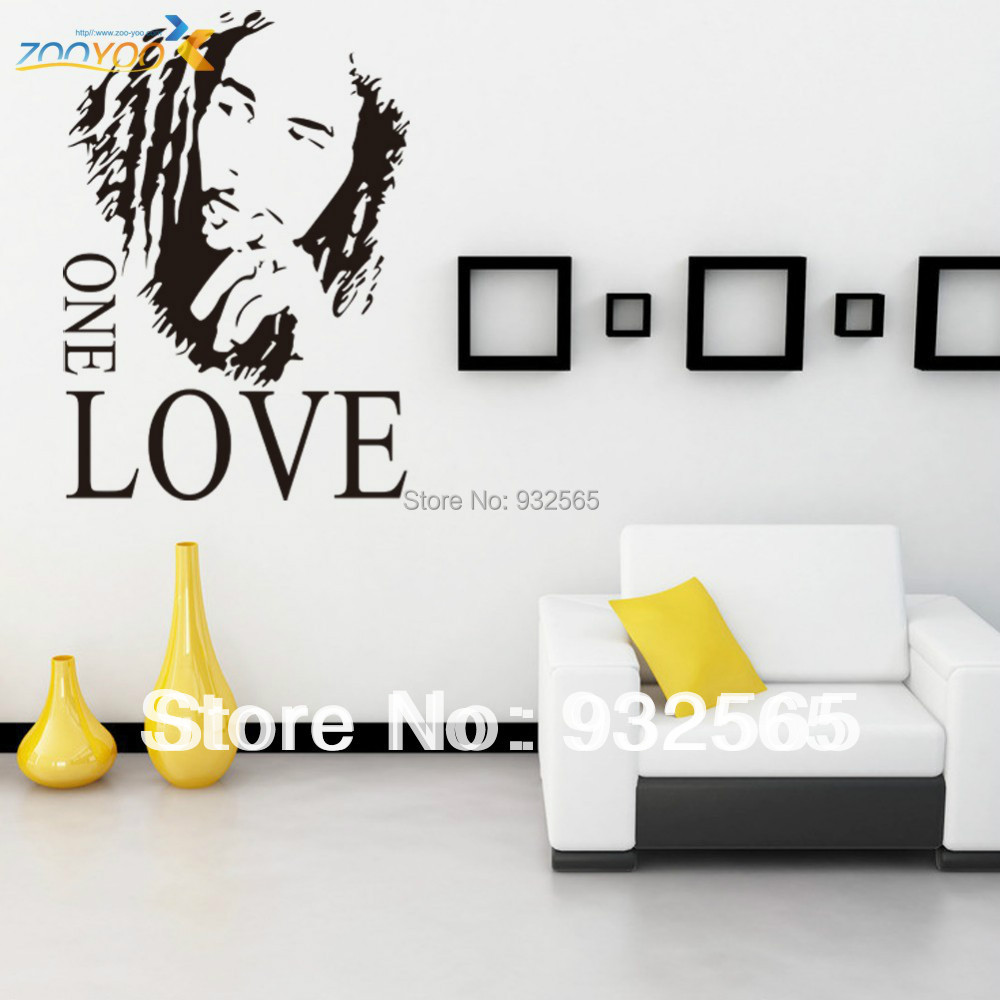 Home decal hot selling letter wall decals bob marley one for Living room 6 letters