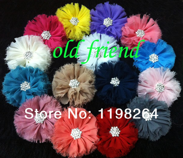 Hot Sale Ballerina Ruffle Chiffon Flower with Rhinestone Buttons Hair accessory Free Shipping 40pcs/lot , free shipping(China (Mainland))