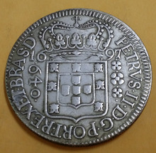 1697 Brazil 640 Reis - Maria I & Pedro III Old Silver Coin Free Shipping(China (Mainland))