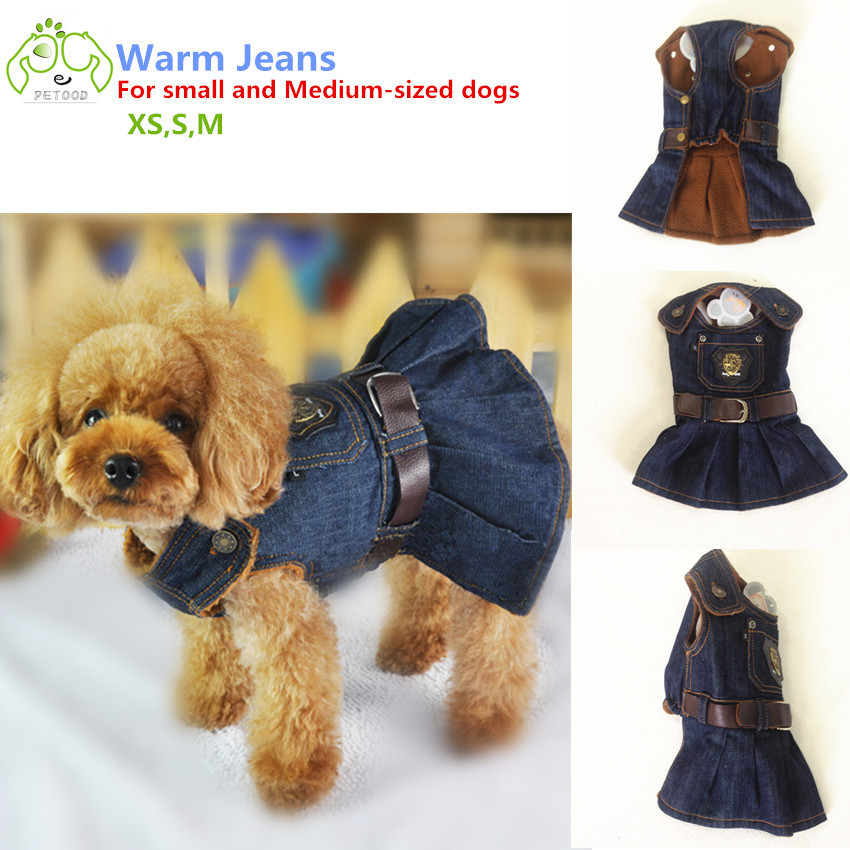 Small dog denim dress pet clothes winter dress for cats puppy chihuahua dog warm coats jacket with Shield and belt(China (Mainland))