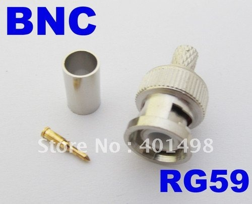 Free shipping BNC male crimp plug for RG59 coaxial cable BNC Connector BNC male 3-piece crimp connector plugs RG59 100set
