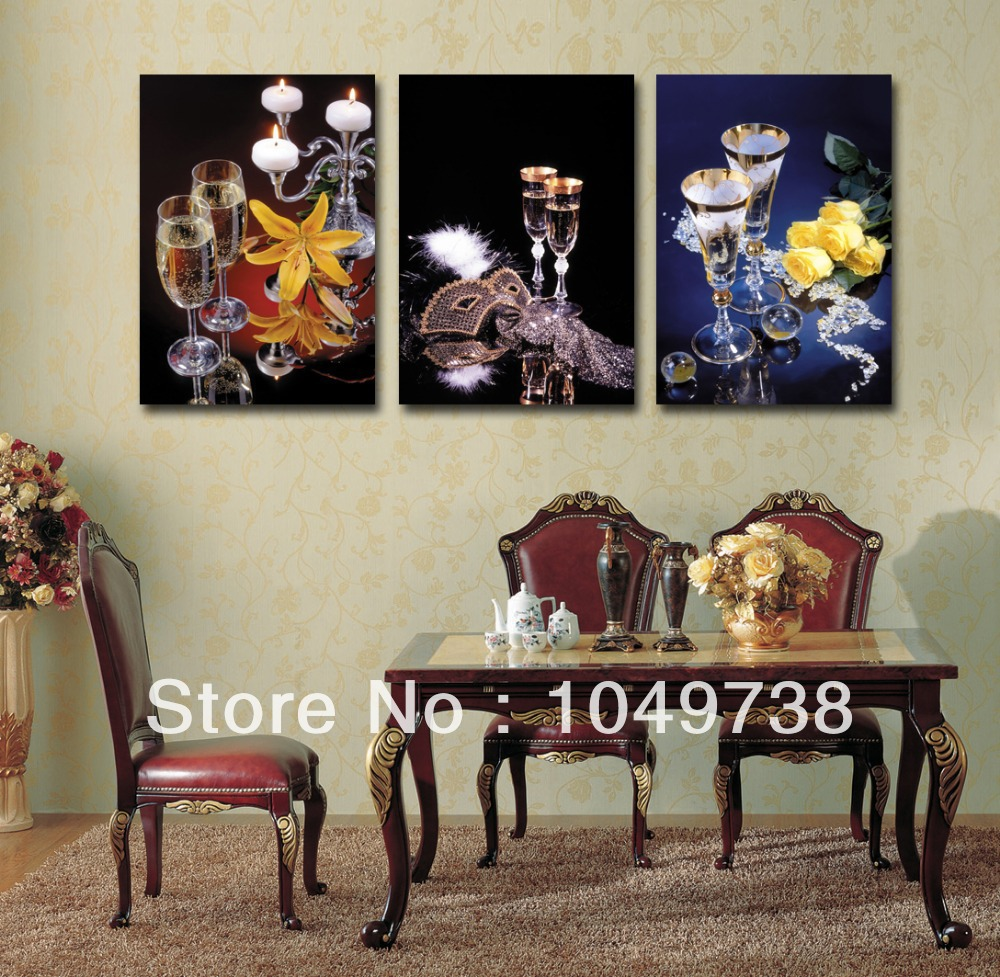 Free shipping canvas art 3 panel black wall decor wine for Dining room wall art canvas