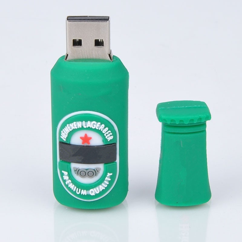 wholesale hot sale silicone lovely green beer usb flash drive pendrive 8GB 16GB 32GB 64GB Memory stick Pen Drive u disk(China (Mainland))