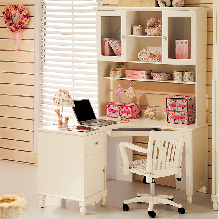 white computer desks with shelf solid wood comuer table. Black Bedroom Furniture Sets. Home Design Ideas