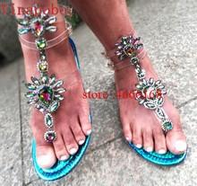 Shoes women sandals 2019 New fashion Gladiator rhinestone summer shoes women flat sandals clip toe women shoes sandalia feminina(China)