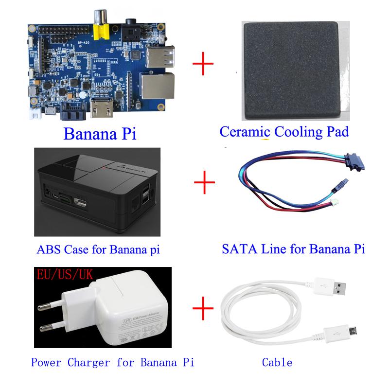 100% Original Banana Pi board + Sata Line Cable 100% Copper Wire + Black ABS plastic Case+Ceramic Heat Sink + Powe charger Plug(China (Mainland))