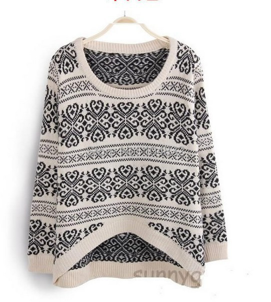 East Knitting SW-014 long sleeve sweaters for women 2015 Vintage totem loose pullovers short knitwears top sale(China (Mainland))