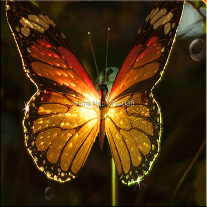2015 New Solar Powered Color Changing Chic Butterfly LED Light Lamp luminaria Garden Wholesaled free shipping(China (Mainland))
