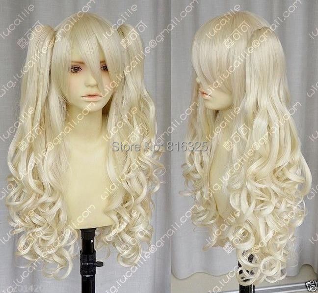 Wholesale price &gt;Vocaloid / seeU light blonde cosplay long curly wig + 2 clip on ponytailClip On Ponytail<br><br>Aliexpress