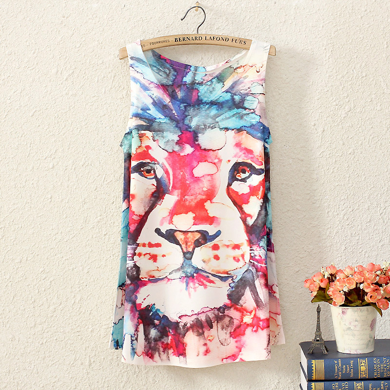 2016 summer women sleeveless t shirt printing Oil Lions people style long section lady t shirt
