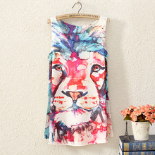 2016 summer women sleeveless t-shirt printing Oil Lions people style long section lady t shirt women tops tees female clothing