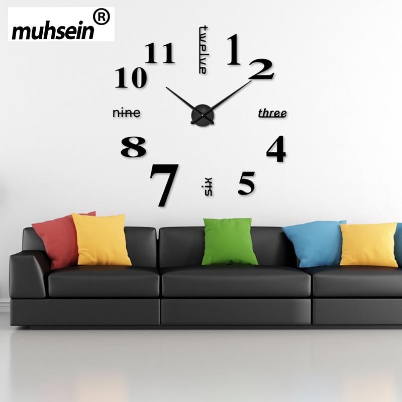 2017 Arabic numerals Wall Clock Creative Modern black Big DIY 3D Digital Mirror Sticker Unique Wall Clocks Watch Home Decoration(China (Mainland))