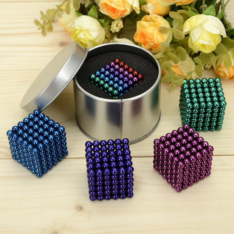 5mm Colorful 216 pcs Neodymium Balls Neo Cube Magic Cube Puzzle Magnetic Magnet Balls Spacer Spheres Beads + Gift Box(China (Mainland))