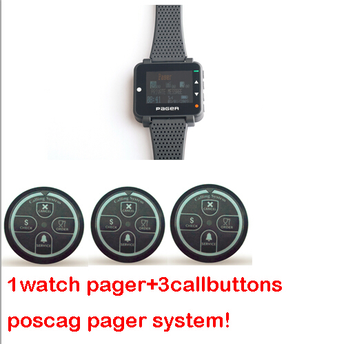 SPECIAL OFFER!1pcs alpha watch pager text message wrist pager and 3 call buttons 4 key poscag pager system