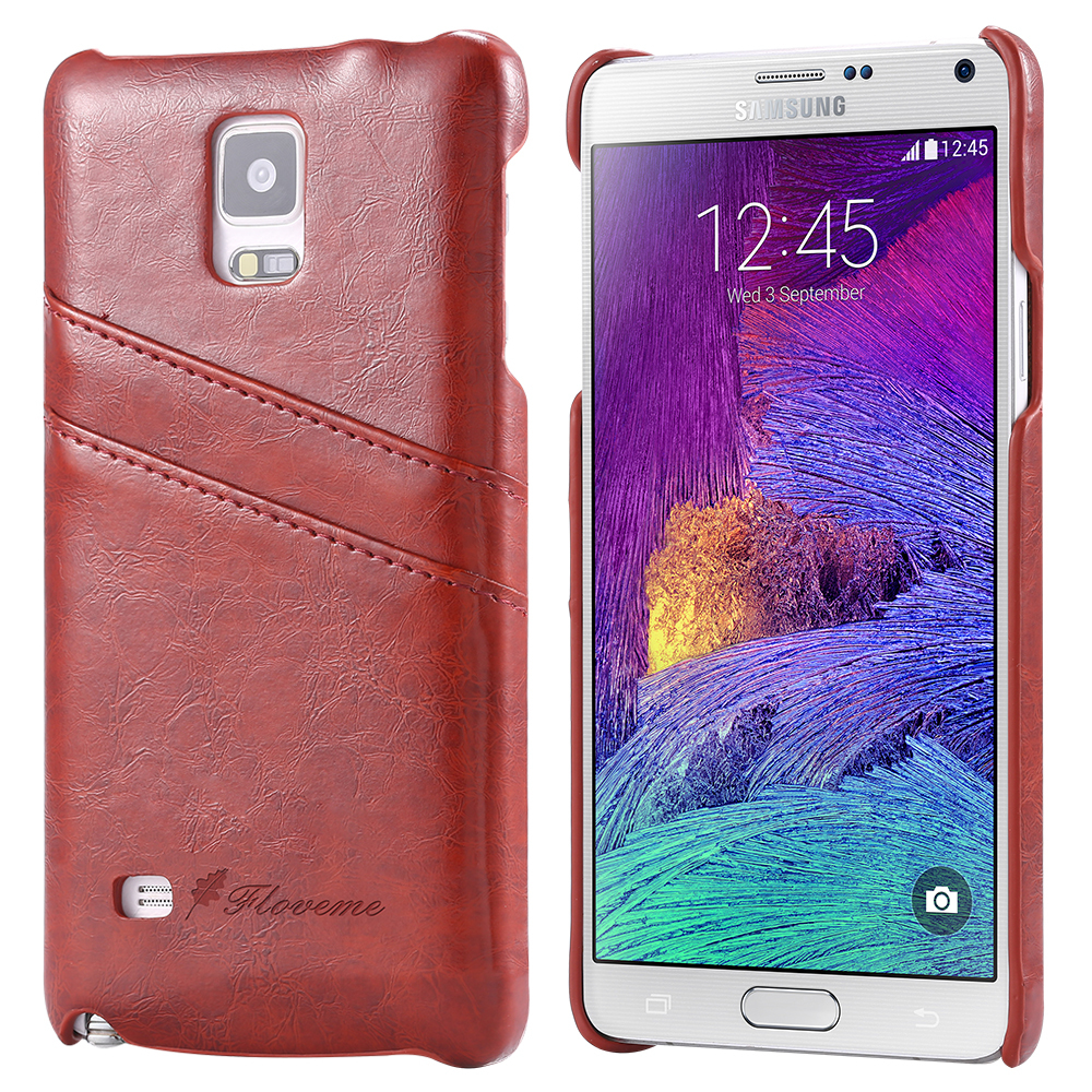 Note 4 Card Slot Phone Case Luxury Grease Glazed Skins Leather Case For Samsung Galaxy Note 4 N9100 Brown Slim Protective Cover(China (Mainland))