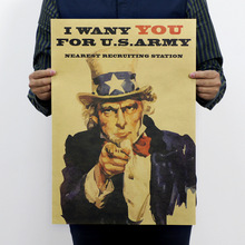 Buy 2016 Wall Poster Uncle Sam Recruitment Want Poster Vintage Old Advertising Complex Kraft Paper Poster 51x35cm for $5.39 in AliExpress store