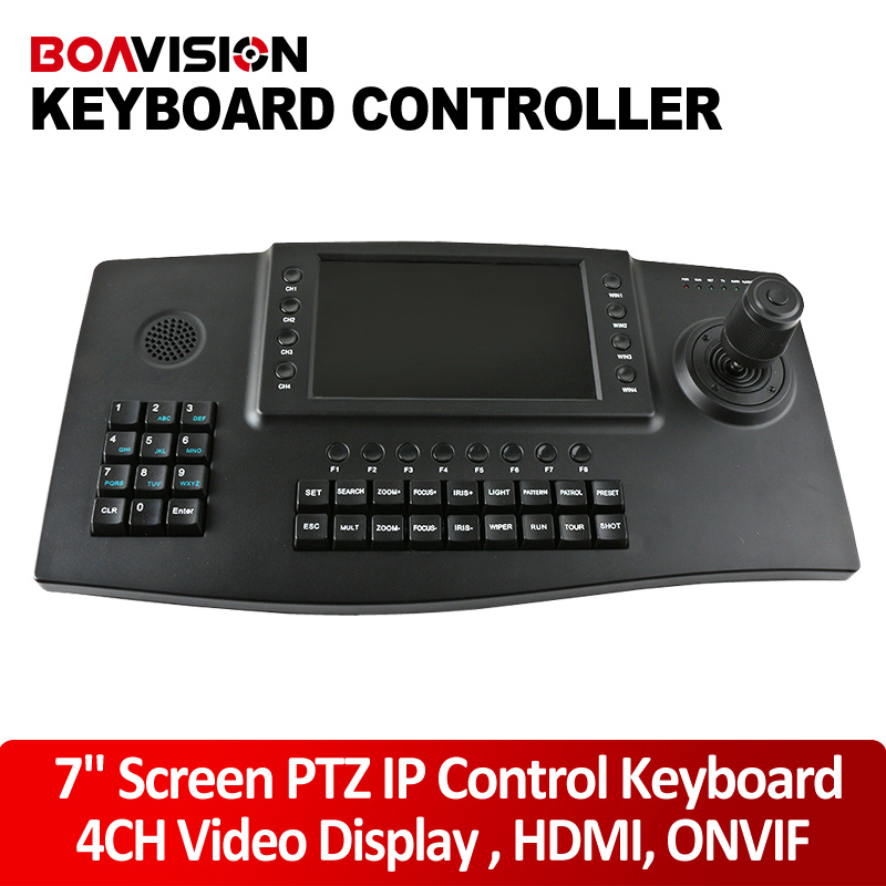 4Ch Video Display Network PTZ Control Keyboard 7 inch LCD Color Screen CCTV PTZ Controller HDMI Output For Onvif IP PTZ Camera(China (Mainland))