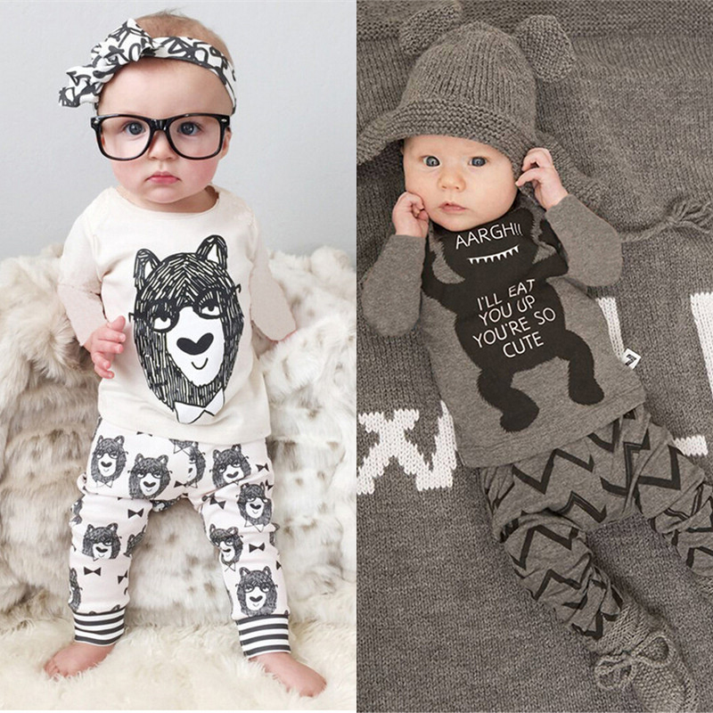 Retail 2015 New Style Infant Clothes Baby Boy Clothing Sets Boy Cotton Little monsters Full Sleeve 2pcs Baby Boy Clothes(China (Mainland))