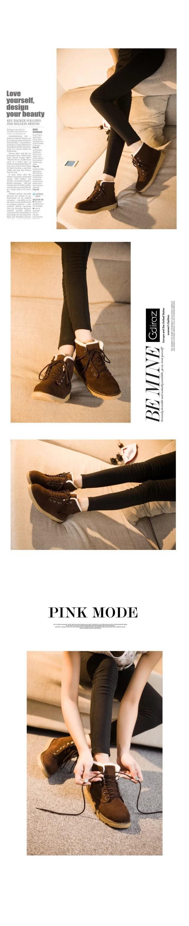 Плоский каблук женщин зимняя обувь нового мода случайные милые Корейские коровы мышцы подошвы теплая женщина сапог снег Женские сапоги свободный корабль