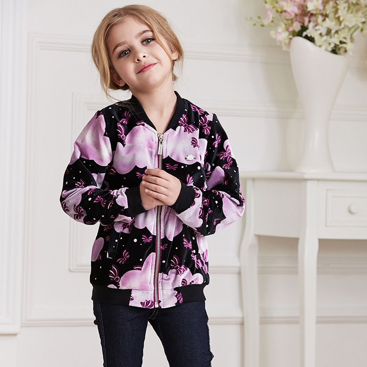 Fashion spring and autumn childrens jackets coat floral print long-sleeve o-neck princess sports windbreaker jacket for girls  <br><br>Aliexpress