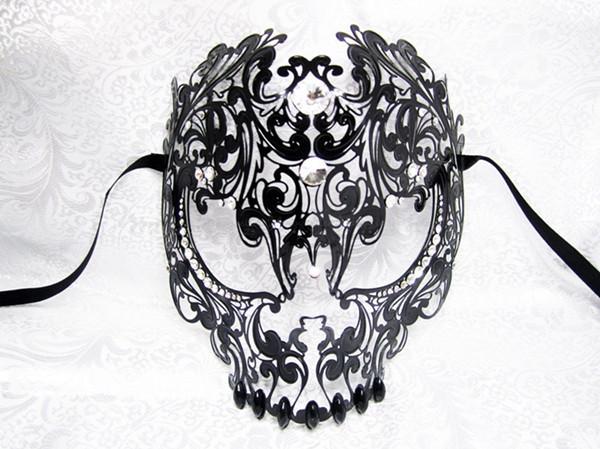 36pcs/Lot Wholesale ! 2014 New Style Venetian Halloween Skull Laser Cut Metal Mask Horror Party Masks Free Shipping(China (Mainland))