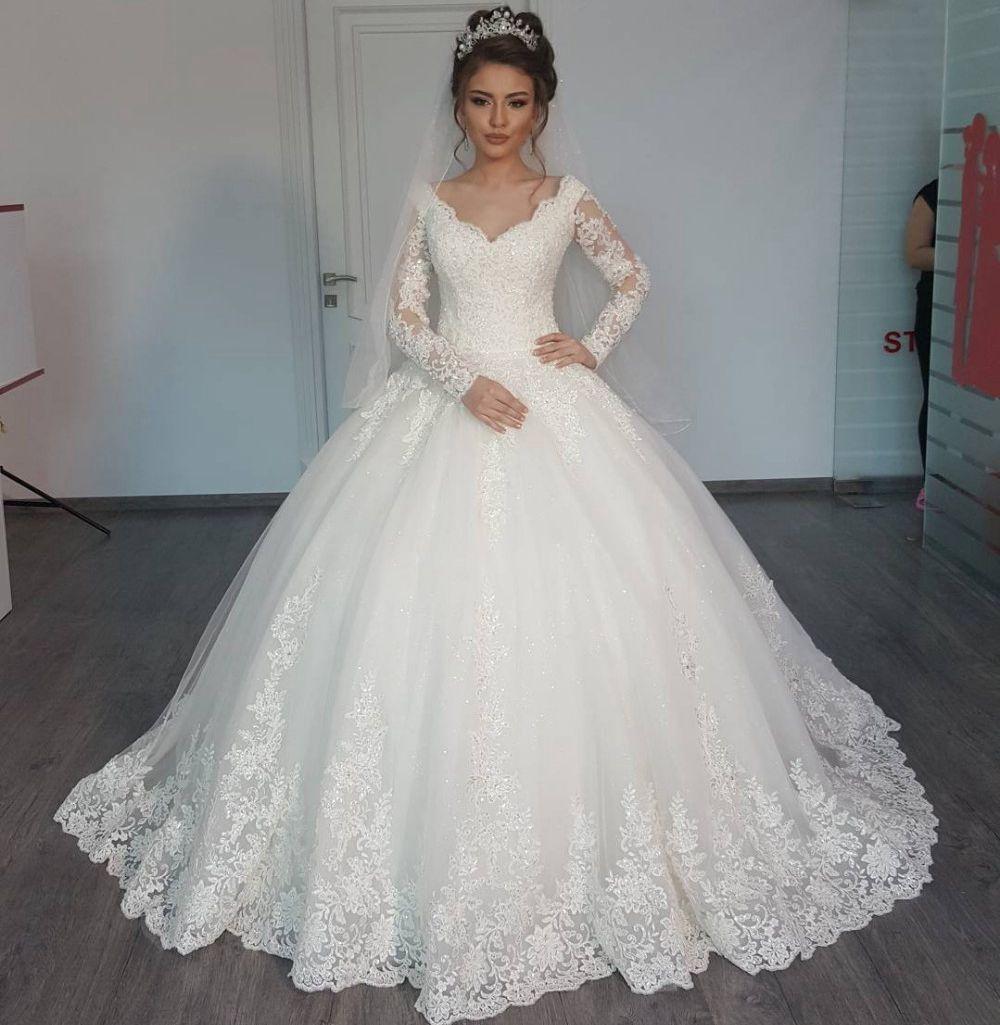Lace long sleeve muslim wedding dresses 2017 new v neck for V neck long sleeve wedding dress
