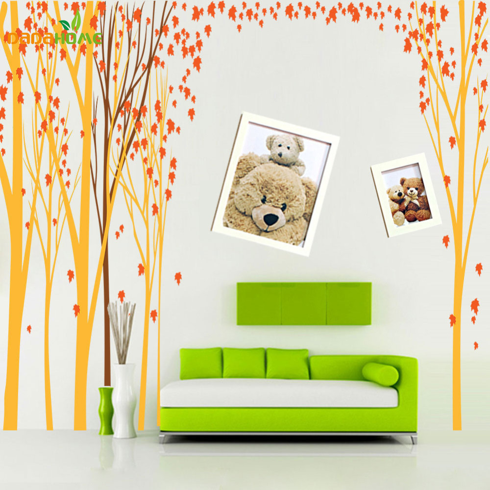Oversized backdrop art hogar stickers muraux wall decor for Decoration murale ginkgo
