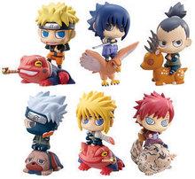 6 unids/set PVC 6 cm lindo Naruto Anime figuras de acción juguetes de los niños colección Naruto Gaara Sasuke modelo con animales para niños Brinquedos
