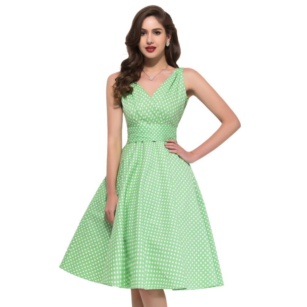 50s 60s style Women Clothing Swing Retro Vintage dress Dots Polka Gown Plus Size Housewife Formal Homecoming dresses Red 6295 - Grace Karin Evening Dress Co. Limited store