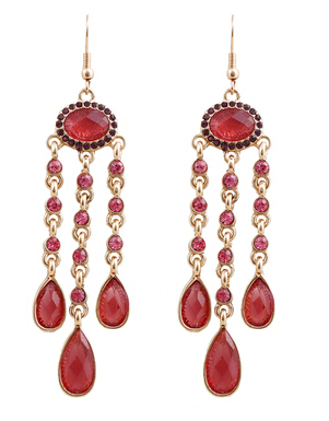WHOLESALE STATEMENT EARRINGS CHANDELIER COSTUME EARRINGS RED JFH(China (Mainland))