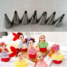 7 Pcs/set Stainless Steel Russian Tulip Icing Piping Nozzles Wedding Cake Decorating Tips Sets Tulip Barbie Skirt Dress(China (Mainland))