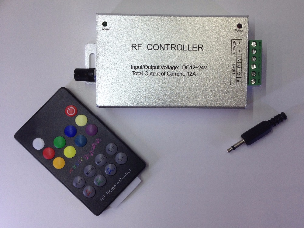 12-24V 18 Keys Audio input Wireless RF Remote Controller,LED Music Sound Control RGB led Controller Dimmer for RGB LED Strips(China (Mainland))